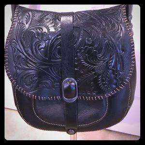 Patricia Nash Black Tooled Leather Saddle Bag